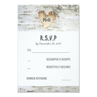 Birch Bark Heart Wedding RSVP Cards