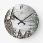 Birch bark round clock