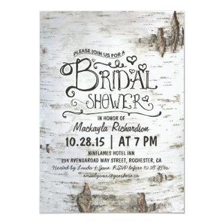 birch bark rustic country bridal shower invitation
