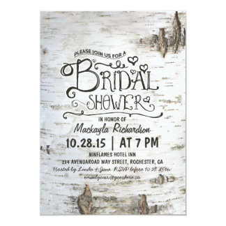 birch bark rustic country bridal shower invitation