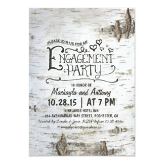 birch bark rustic country engagement party invite