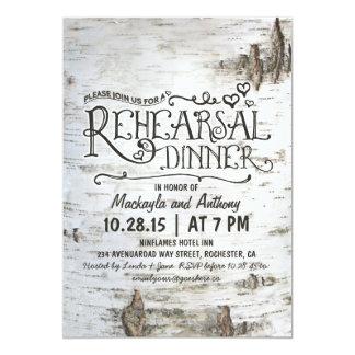 birch bark rustic country rehearsal dinner invite