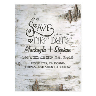 birch bark rustic country save the date postcards