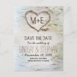 "Birch bark rustic save the date postcards<br><div class=""desc"">birch bark texture and carved wood love heart rustic save the date postcards for country weddings. ------------Please contact me if you need help with customization or have a custom color request. ---------- If you push CUSTOMIZE IT button you will be able to change the font style, color, size, move it...</div>"