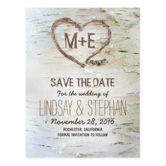 Save the date postcards zazzle birch bark rustic save the date postcards pronofoot35fo Gallery