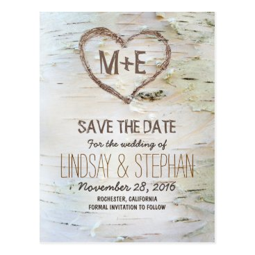 jinaiji Birch bark rustic save the date postcards