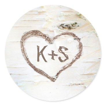 Valentines Themed Birch Bark Rustic Tree Wedding Classic Round Sticker