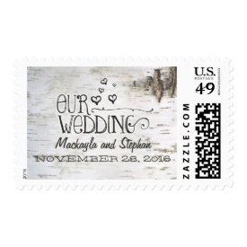 birch bark rustic wedding postage