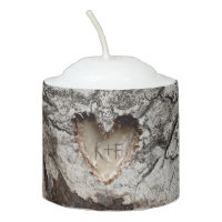 Birch Bark Rustic Wood Tree Heart Votive Candle