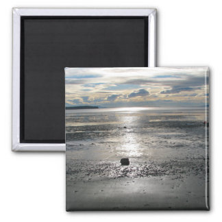 Birch Bay Tide Flats 2 Inch Square Magnet