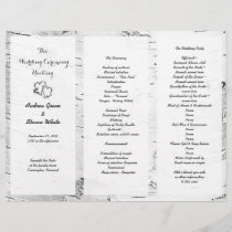 Birch Carved Hearts Wedding Tri-Fold Program