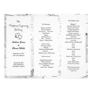 Birch Carved Hearts Wedding Tri-Fold Program