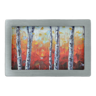 Birch Dream, Palette Knife Painting in oil Belt Buckle