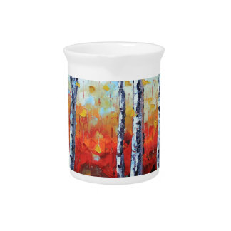 Birch Dream, Palette Knife Painting in oil Drink Pitcher