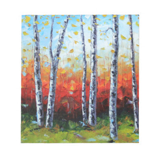 Birch Dream, Palette Knife Painting in oil Notepad