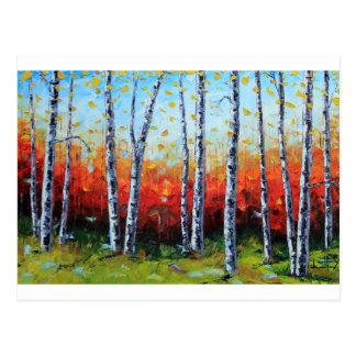 Birch Dream, Palette Knife Painting in oil Postcard