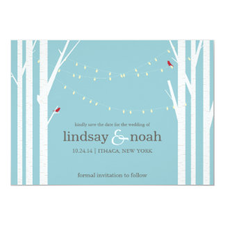 Birch Forest Blue Save the Date Announcements