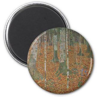Birch Forest by Gustav Klimt, Vintage Art Nouveau 2 Inch Round Magnet