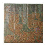 Birch Forest by Gustav Klimt, Vintage Art Nouveau Small Square Tile