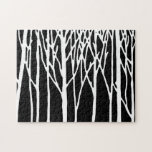"Birch Forest by Leslie Peppers Jigsaw Puzzle<br><div class=""desc"">Birch Forest by Leslie Peppers is a peaceful artwork in black and white Minimalism of birch trees set against a midnight background on a customizable jigsaw puzzle</div>"
