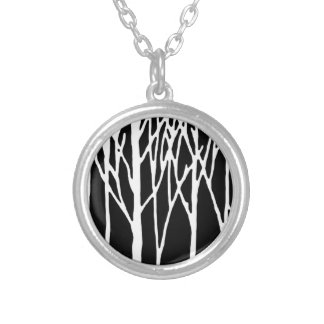 Birch Forest by Leslie Peppers Round Pendant Necklace