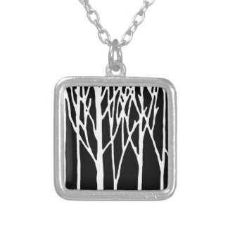 Birch Forest by Leslie Peppers Silver Plated Necklace