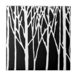 Birch Forest by Leslie Peppers Small Square Tile