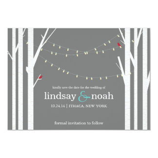 Birch Forest Grey Save the Date Announcements