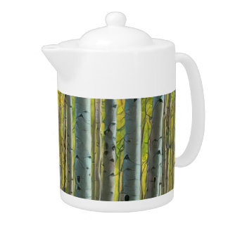 Birch Forest Painting Teapot