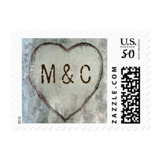 Birch Heart Carved Wedding Postage Stamps