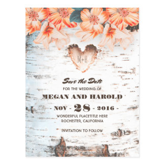 Birch Heart Rustic Country Fall Save the Date Postcard
