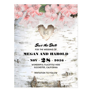 Birch Heart Rustic Country Save the Date Postcard