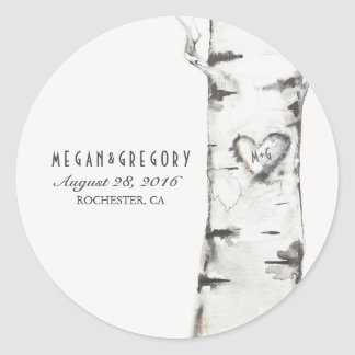 Birch Heart Rustic Wedding Classic Round Sticker