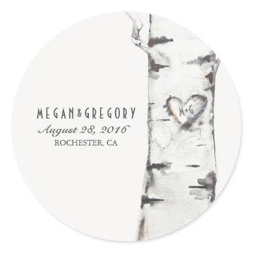 Valentines Themed Birch Heart Rustic Wedding Classic Round Sticker