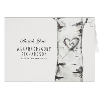 Birch Heart Rustic Wedding Thank You Card