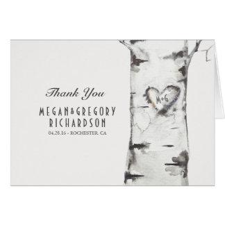 Birch Heart Rustic Wedding Thank You Card