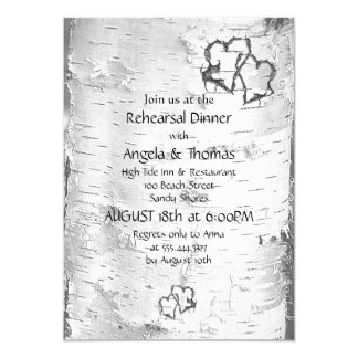 Birch Hearts Black and White Rehearsal Dinner 5x7 Paper Invitation Card