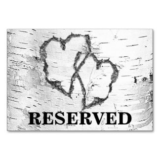 Birch Hearts Reserved Wedding Sign Card