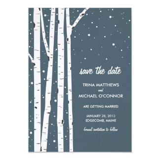 Birch Tree and Snow Save the Date Card