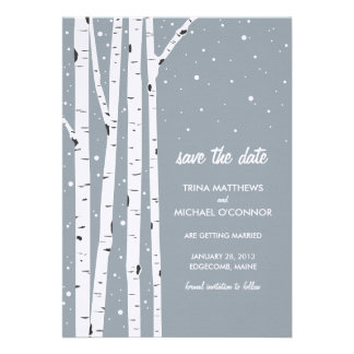Birch Tree and Snow Save the Date Announcement
