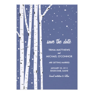 Birch Tree and Snow Save the Date Invite