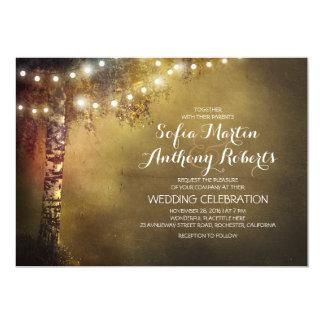 "birch tree and string lights wedding invitation 5"" x 7"" invitation card"