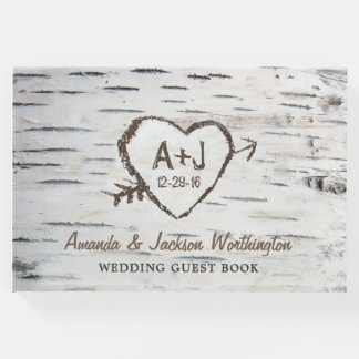 Birch Tree Bark Country Rustic Wedding Guest Book