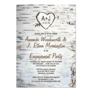 Birch Tree Bark Engagement Party Invitations