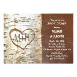 Birch tree bark heart rustic bridal shower custom invitations