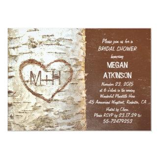 Birch tree bark heart rustic bridal shower custom invitations