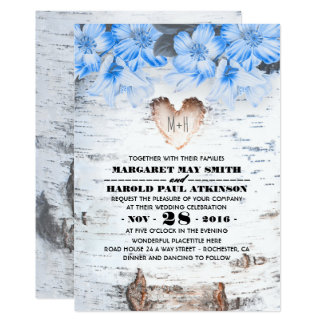 Birch Tree Bark Heart Rustic Country Wedding Card