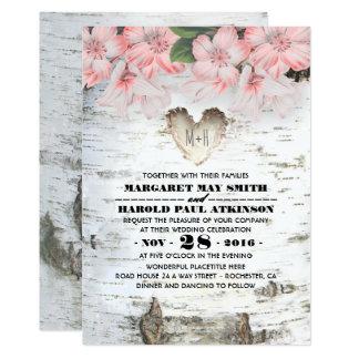 Birch Tree Bark Heart Rustic Country Wedding Invitation