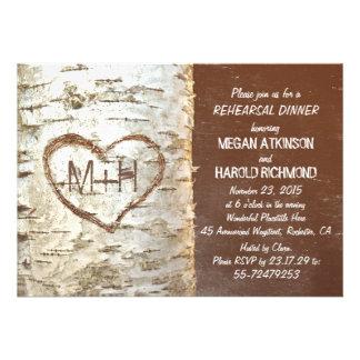 Birch tree bark heart rustic rehearsal dinner personalized invites