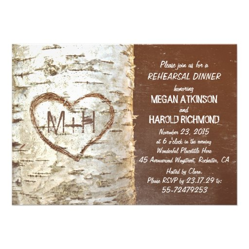 Birch tree bark heart rustic rehearsal dinner personalized invites